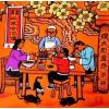 《陕西十大怪》酒店饭店宾馆家居装饰字画擀面条张青义民俗农民画 举报
